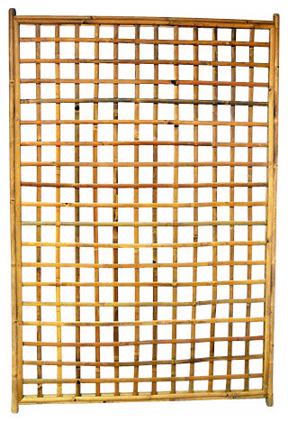 Framed Bamboo Lattice Panel, Square Opening Pattern