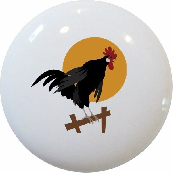 Rooster on Fence Ceramic Knob - Farmhouse - Cabinet And Drawer Knobs - by Carolina Hardware and ...