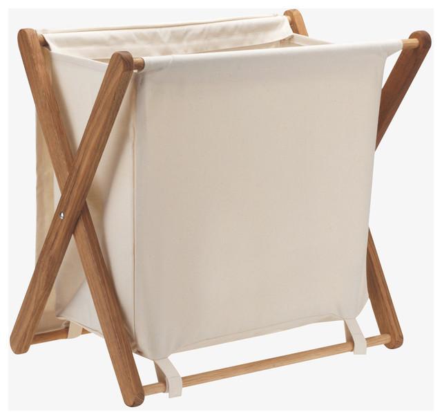 Folding Canvas Wood Small Ecru Laundry Bin Coastal