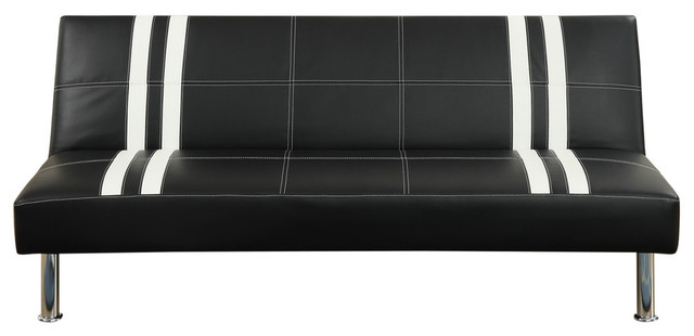 Contemporary Black Faux Leather Armless Sleeper Sofa Bed Futon