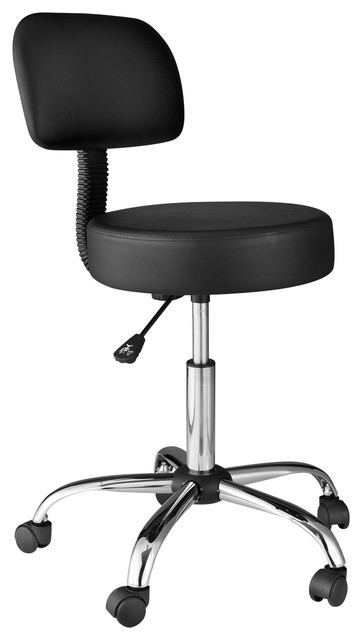 Onespace Medical Stool With Back Cushion, Black.