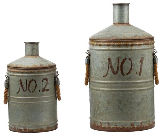 Metal Jugs Pots Vases, 2-Piece Set