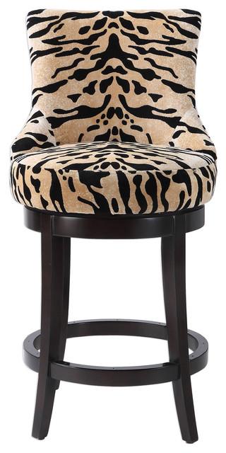 Cool Luxe Velvet Tiger Print Swivel Counter Stool Barstool Round Plush Back Wood Spiritservingveterans Wood Chair Design Ideas Spiritservingveteransorg