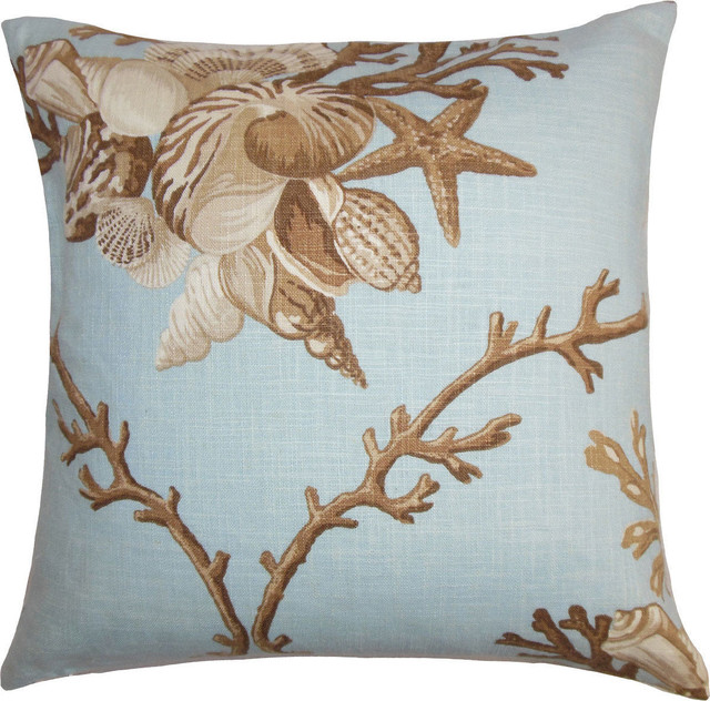 Beach Style Decorative Pillows : Maj Coastal Down Feather Filler Pillow, Blue Brown, 20