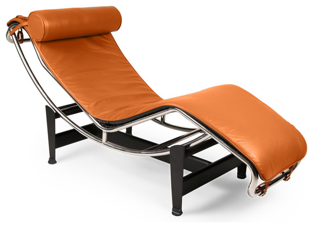 Gravity Aniline Leather Chaise Lounge, Caramel