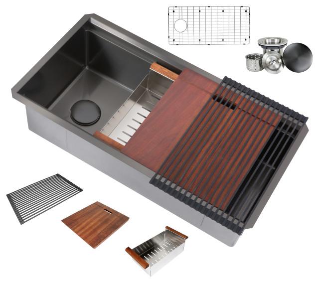 """Workstation 32"""" Undermount Single Bowl Black Stainless Steel Kitchen Sink"""