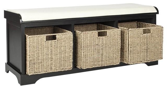 Amazing Lonan Wicker Storage Bench In Distressed Black Finish Frankydiablos Diy Chair Ideas Frankydiabloscom