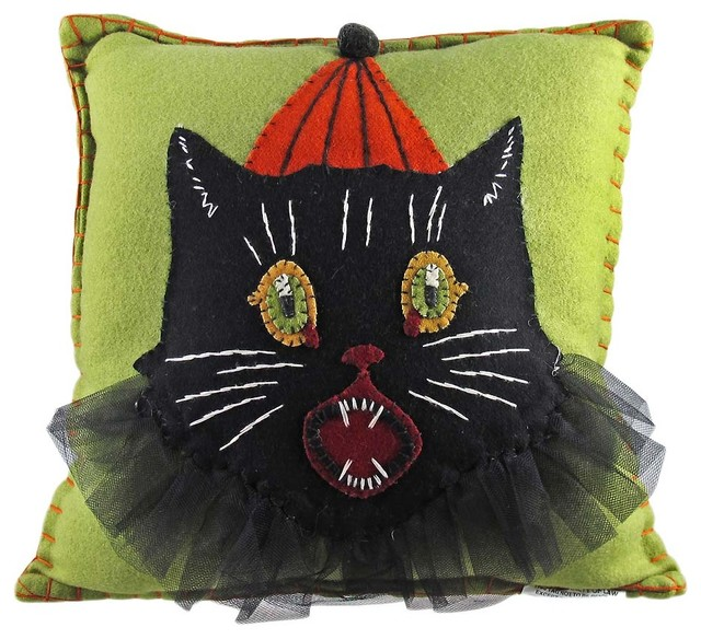 Eclectic Couch Pillows : Bethany Lowe Sassy Cat Halloween Decorative Throw Pillow - Eclectic - Decorative Pillows - by Zeckos