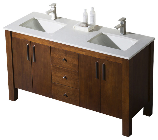 Parsons Double Sink Vanity Chestnut With Quartz Countertop 60