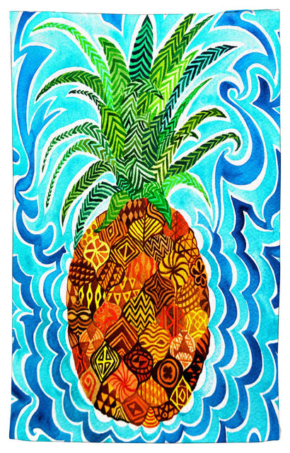 Pineapple Kitchen Towels | Psychedelic Pineapple Kitchen Towel Tropical Dish Towels By