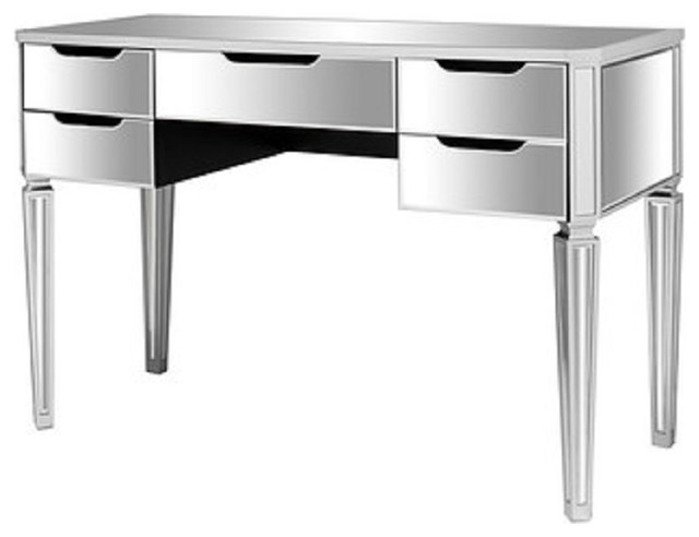 Mirrored Makeup Vanity Table Desk With 5 Drawers