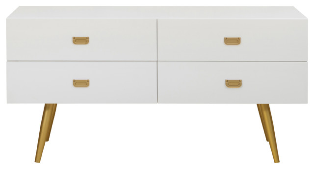 White And Gold Four Drawer Chest.