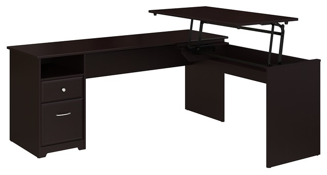 Cabot L Shaped Desk With Hutch: Cabot 3 Position L Shaped Sit To Stand Desk