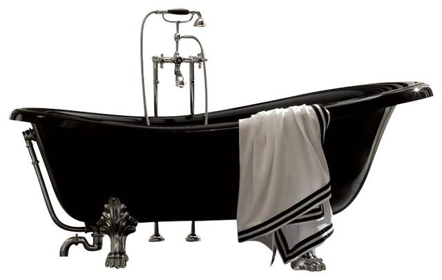 Retro 1051 Glass Resin Bathtub In Black With Metal Feet