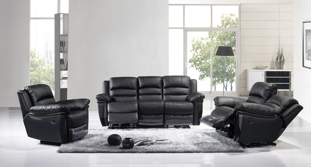 Modern black leather dual reclining sofa set loveseat recliner comfort - Living room furniture your comfort is a priority ...
