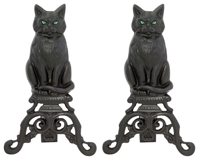 Black Cast Iron Cat And Irons.