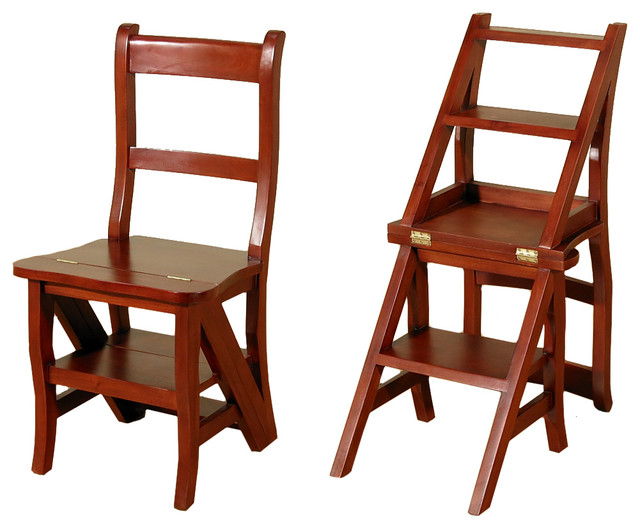 Cherry Convertible Ladder Chair Office Home Library Step ...