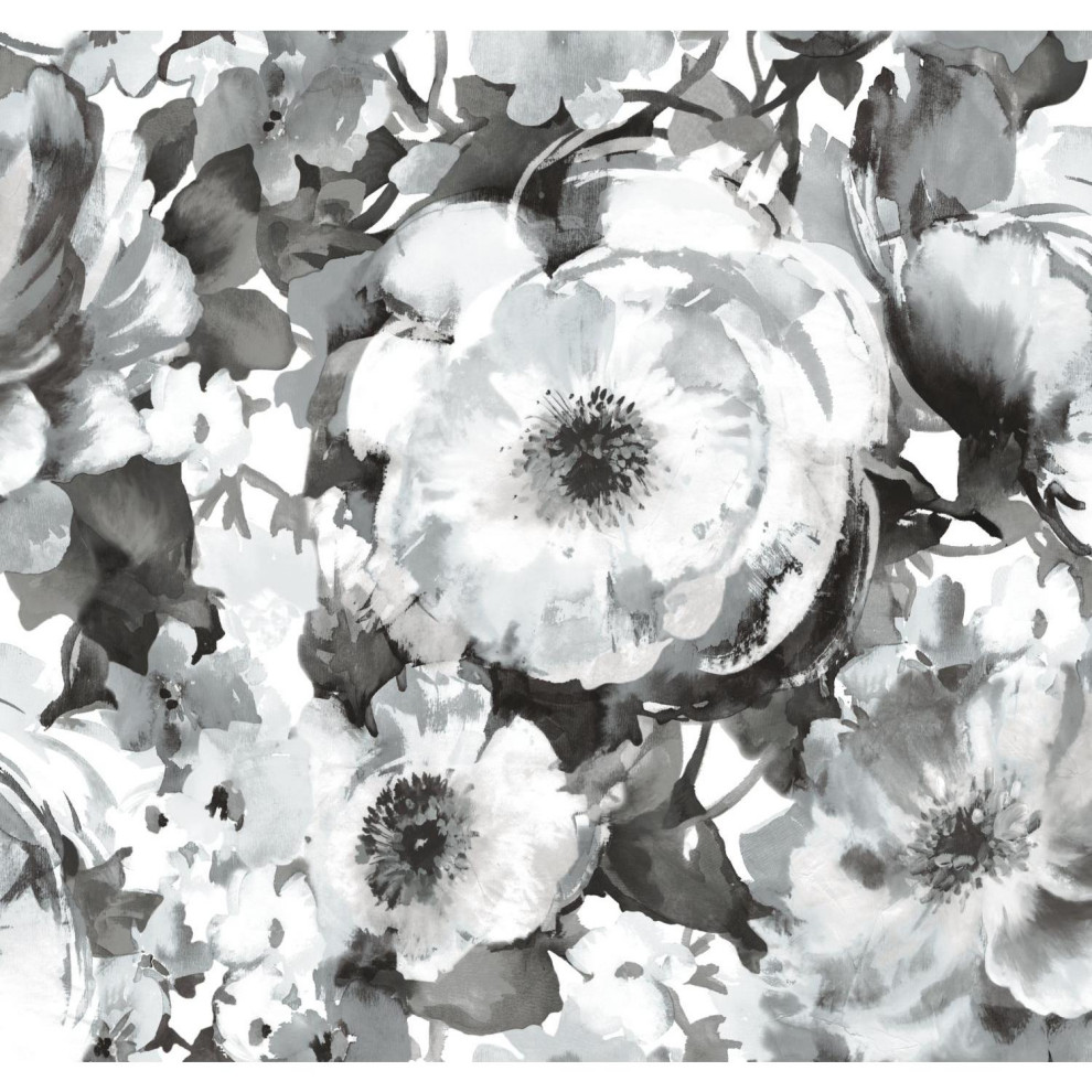 Watercolor Floral Peel And Stick Wallpaper Black White Contemporary Wallpaper By York Wallcoverings Inc