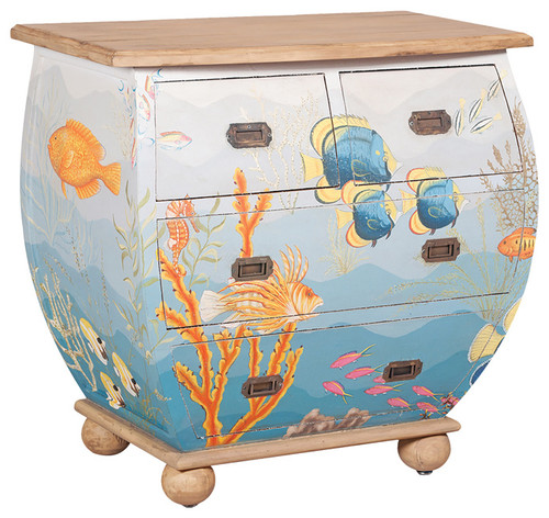 Unique Waterfront Bombe Chest, Original Art Finish, 33.5x35