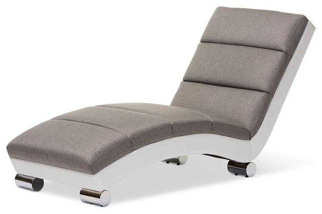 Percy Chaise Lounge In Gray And White.