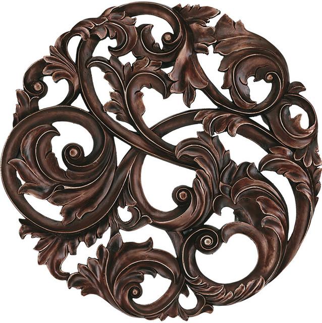 Aged Copper Leaf Swirl Medallion 40 Diam