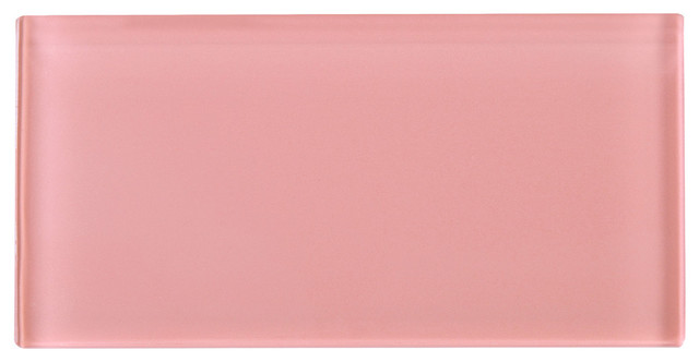 "3""x6"" Pink Glass Subway Tile, Set Of 8."
