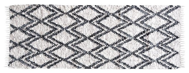 Berber Leather and Cotton Rug, 140x200 cm