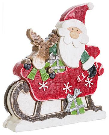 Silk Plants Direct Santa And Reindeer, Set Of 2.