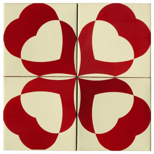 Hearts Ceramic Tile Mural, 4 Tiles