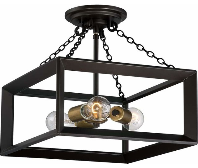 Quoizel Brook Hall Semi-Flush Mount, Western Bronze.