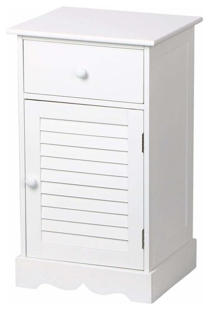 Contemporary Nightstand Wood One Drawer And Slatted Door White Finish