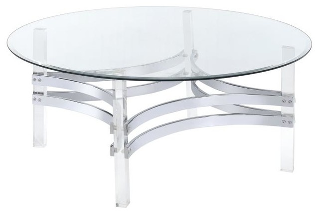 Contemporary Round Glass Top Coffee Table With Acrylic