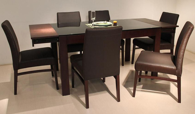 Extendable Wood And Glass Top Designer Modern Dining Room Contemporary Di