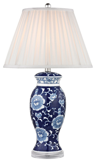white ceramic table lamp in hand painted blue and white asian table. Black Bedroom Furniture Sets. Home Design Ideas