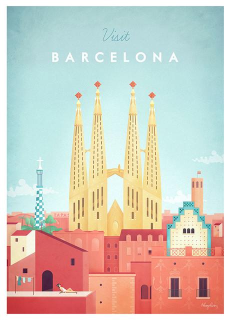 Visit Barcelona Framed Fine Art Print, 48x65 cm