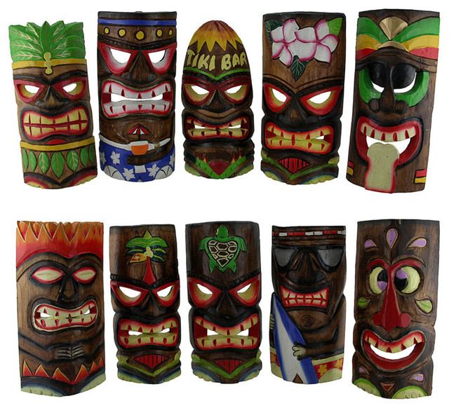 Zeckos Set of 5 Hand Crafted Brightly Colored Polynesian Style Tiki Masks 39 in.