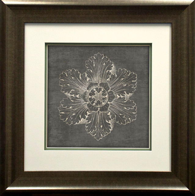 """rosette V Gray"" By Wild Apple Portfolio, Double Mat Spacer, Pewter, 29""x21""."