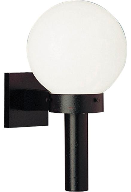 1-Light Wall Lantern, Black With White Shatter-Resistant Globe.