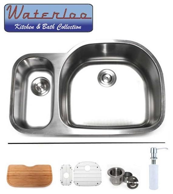 33 Waterloo Premium Stainless Steel Undermount Double Bowl Kitchen Sink Kitchen Sinks