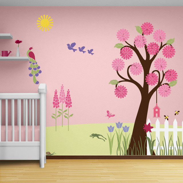 Splendid Garden Wall Mural Stencil Kit for Painting - Contemporary ...