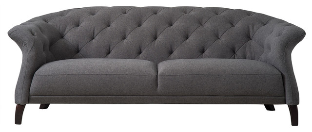 Crispin Chesterfield Sofa, Dark Grey, 3-Seater