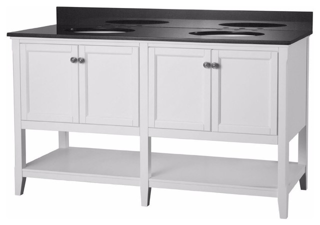 "Bathroom Vanity Base foremost auguste 60"" bathroom vanity base white - traditional"