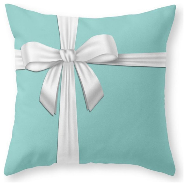 Blue Tiffany Box Throw Pillow - Contemporary - Decorative Pillows - by Society6