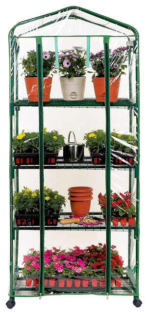 2.3&x27;x 5.25&x27; 4-Tier Greenhouse With Transparent Pvc Cover And Caster Wheels.