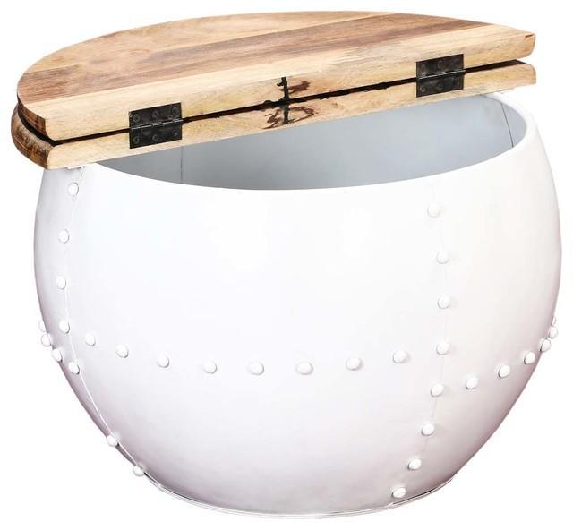 Colorado Contemporary White Round Accent Drum Coffee Table