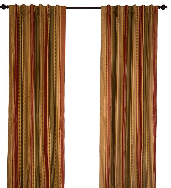 "Silk Taffeta Chocolate And Red Stripes Curtain Panel, 84""."