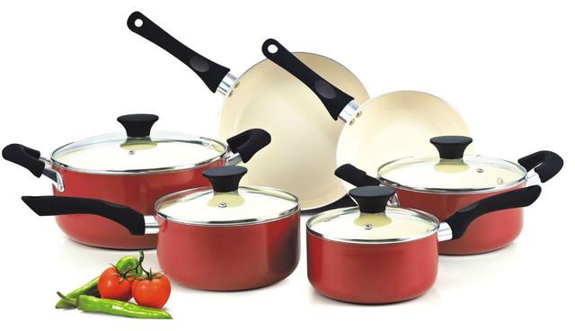 10-Piece Nonstick Ceramic Coating Cookware Set, Red.