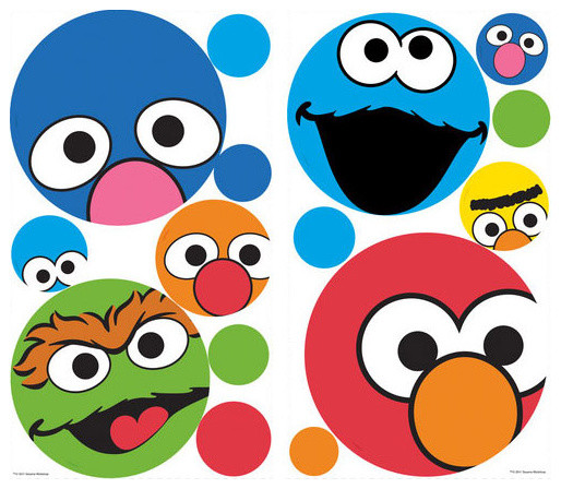 Sesame Street Polka Dot Faces Wall Sticker Set 27pc Decals contemporary-wall -decals