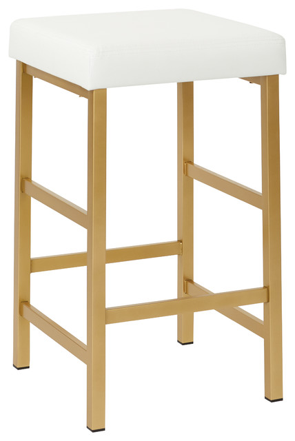 "26"" Gold Backless Stool, White"