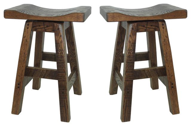24 Barn Wood Saddle Swivel Bar Stools